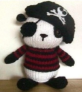 Knitting pattern for Pirate Panda amigurumi plush toy