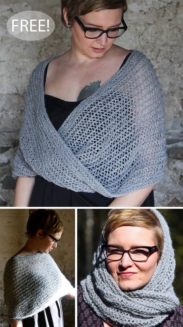 Free Knitting Pattern for 4 Row Repeat Moebius Shawl