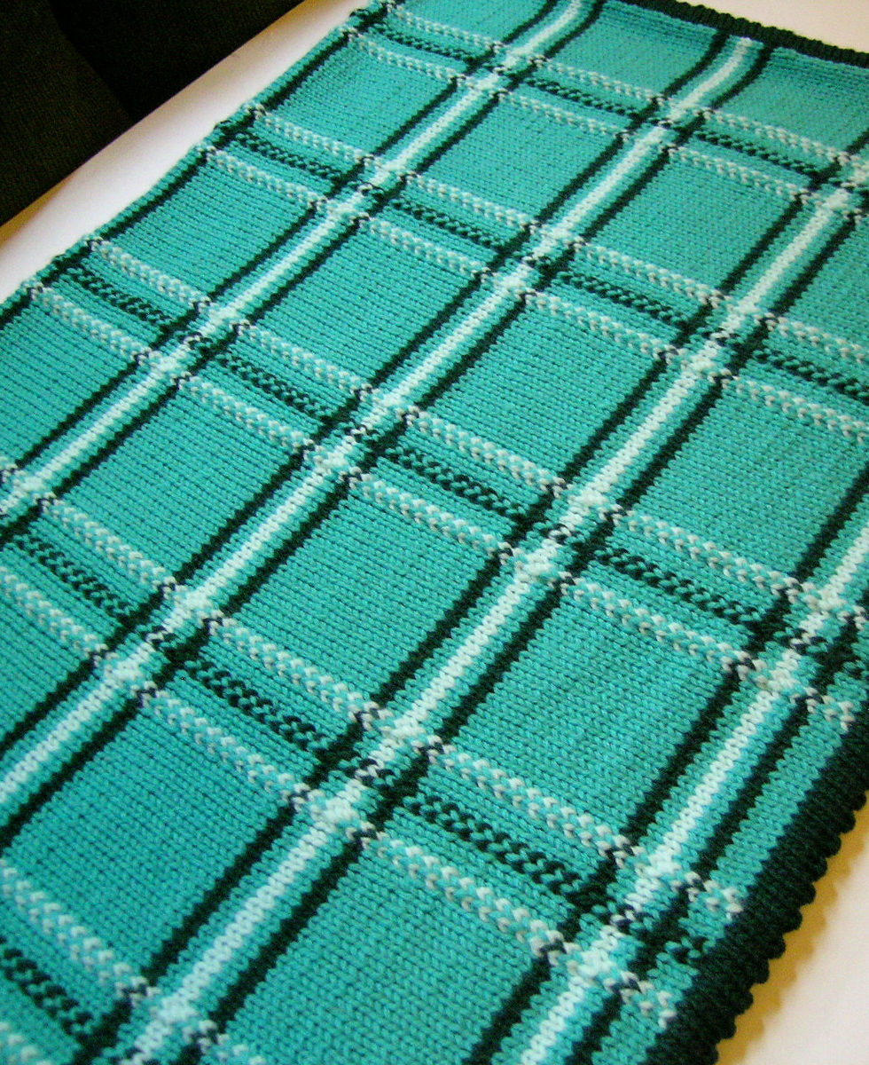 Free Knitting Pattern for Plaid Baby Blanket