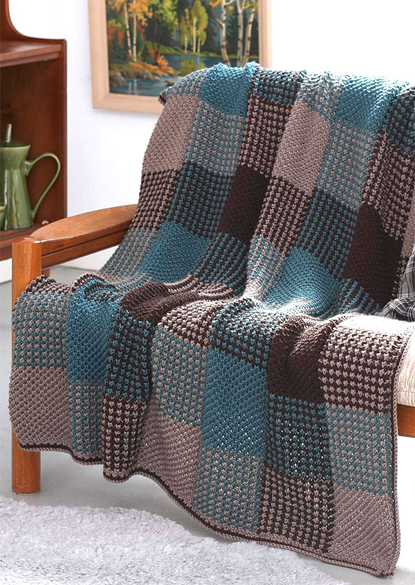 Free Knitting Pattern for Plaid Texture Afghan