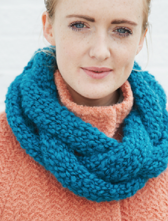 Free Knitting Pattern for Easy One Skein Plaited Cowl