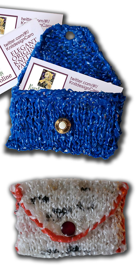 Free knitting pattern for ladycaroline's Recycled Plastic Business Card Case