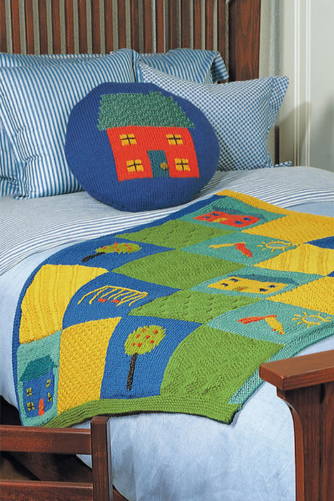 Free Knitting Pattern for Neighborhood Blanket and Pillow Set