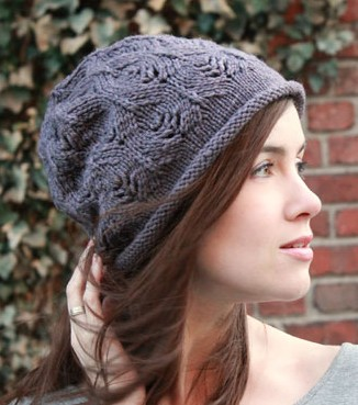 Free knitting pattern for Plum Tree Slouchy Hat with all over lace pattern d9e952224fc