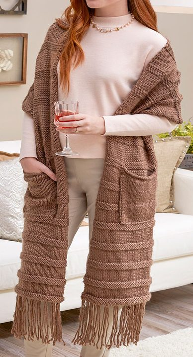 Free Knitting Pattern for Posh and Pocketed Super Scarf