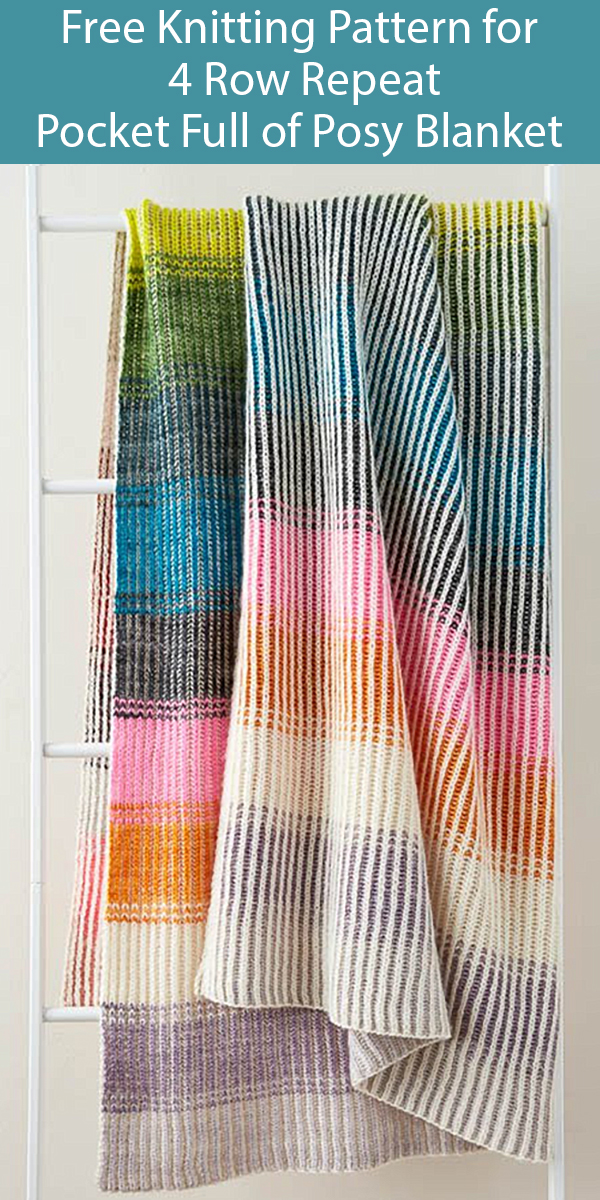 Free Knitting Pattern for 4 Row Repeat Pocket Full of Posy Blanket