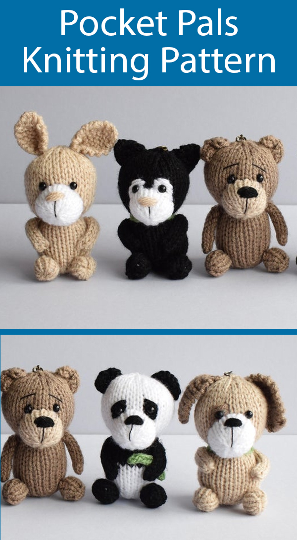 Knitting Pattern for Pocket Pals Animals