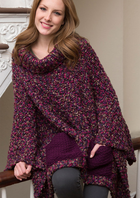 Free Knitting Pattern for Pocket Poncho