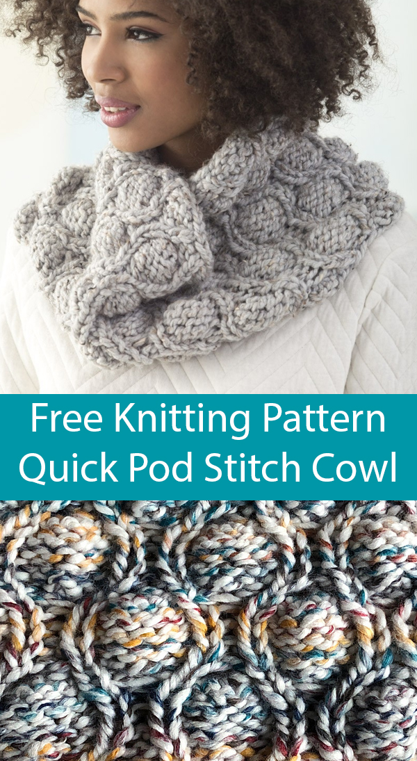 Free Knitting Pattern for Quick Pod Stitch Cowl