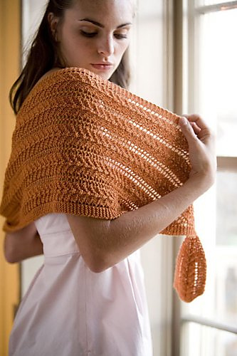 Knitting pattern for Clementine Shawlette shaped lace shawl and more chevron knitting patterns