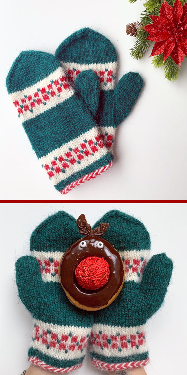 Free until Dec 31, 2019 Knitting Pattern for Poinsettia Mittens