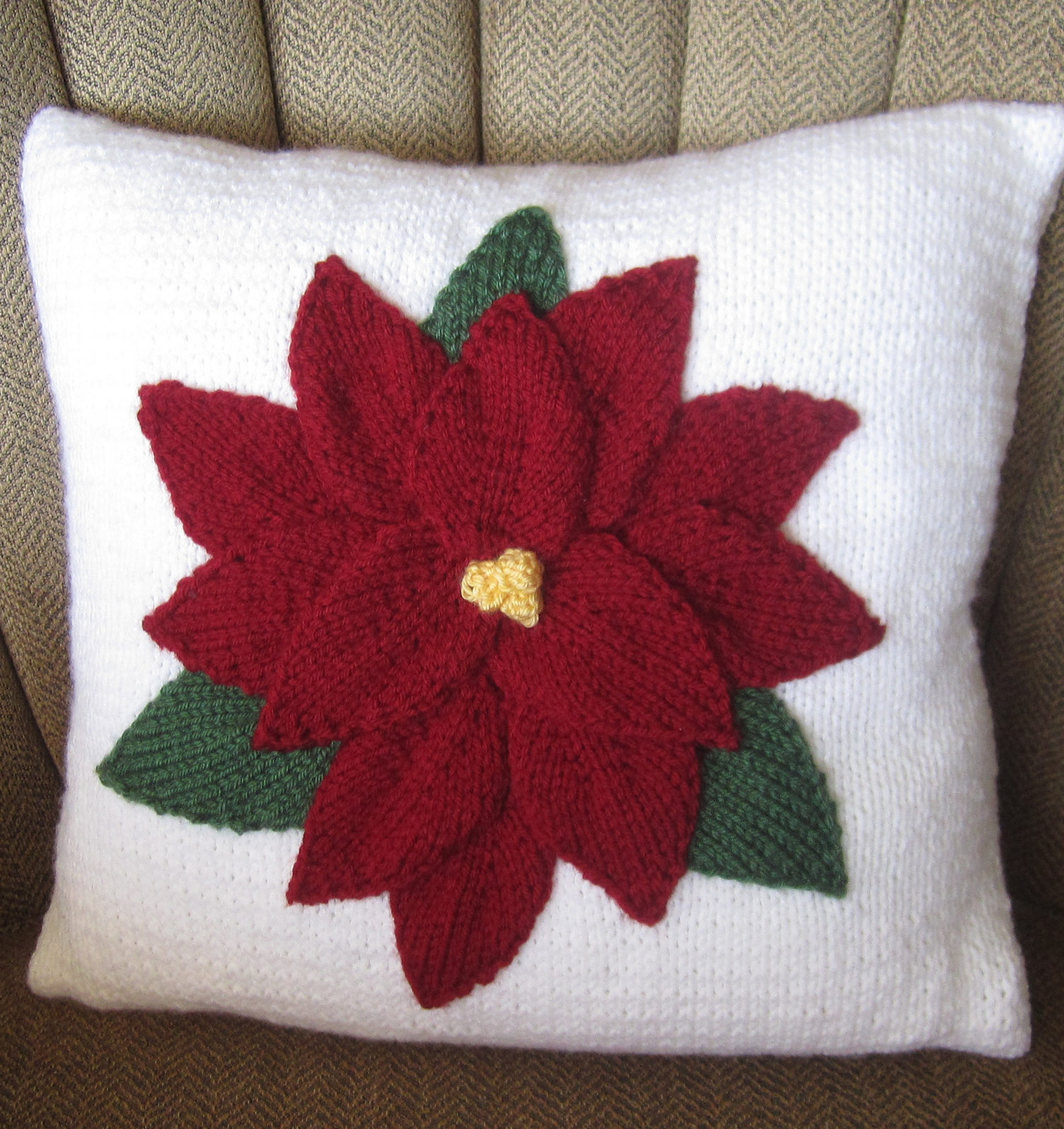 Knitting Pattern for Poinsettia Pillow