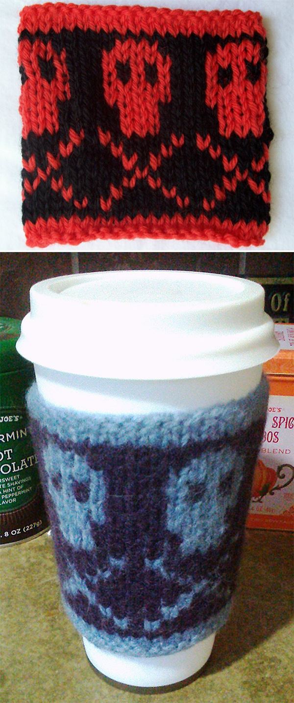 Free Knitting Pattern for POISON! Coffee Cozy