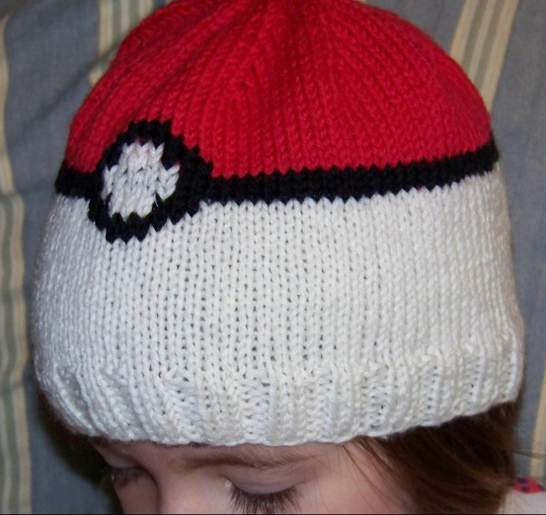 Free knitting pattern for Pokeball Hat from Pokemon