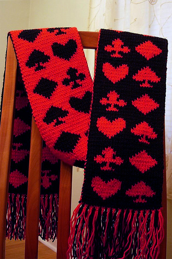 Free Knitting Pattern for Poker Night Scarf