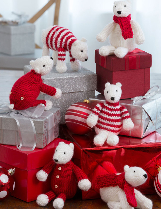 Free Knitting Pattern for Polar Bear Toy Decorations