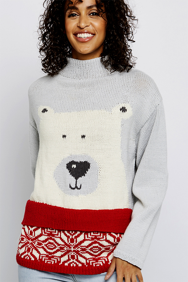 Knitting Pattern for Polar Bear Pullover