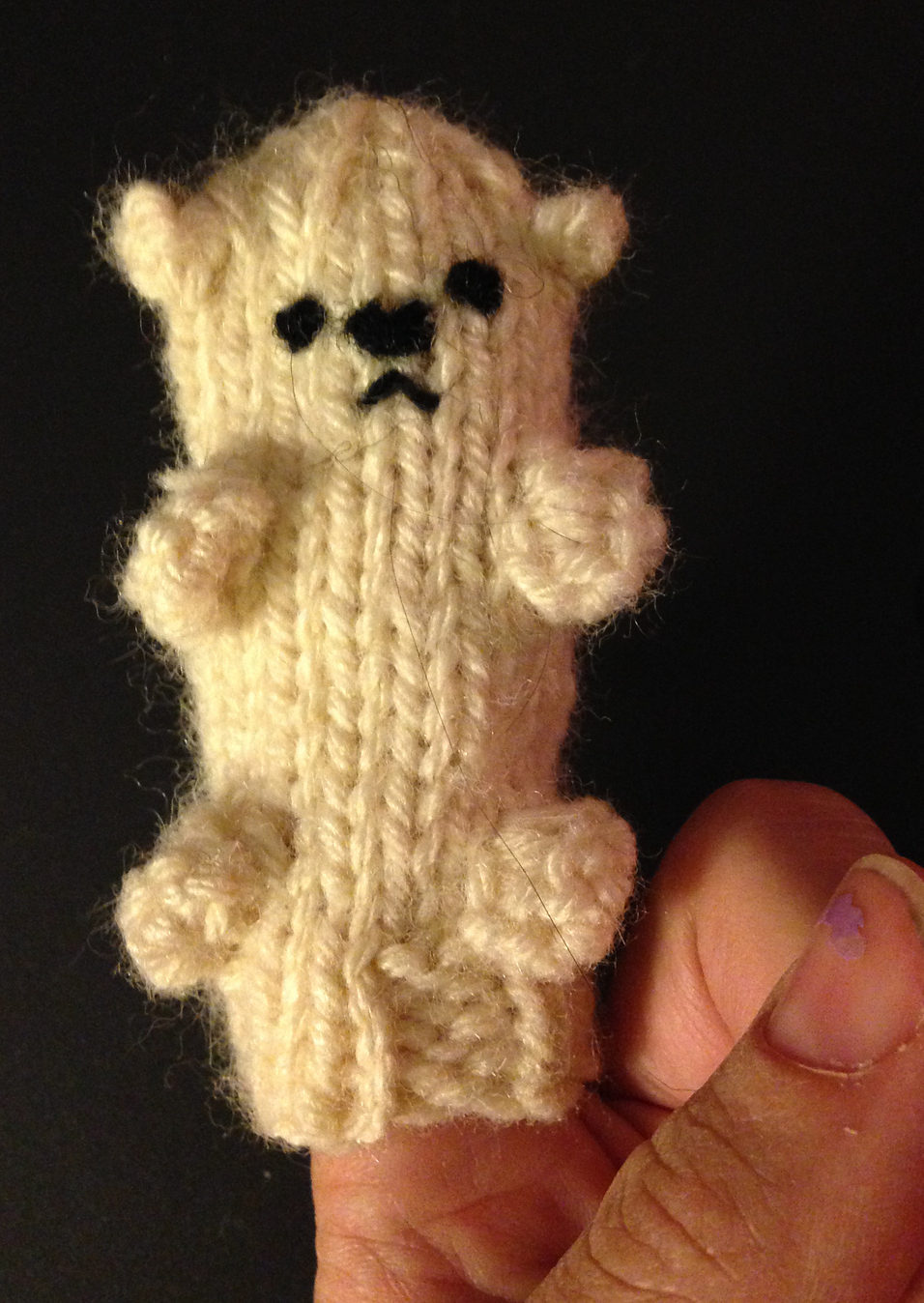 Free Knitting Pattern for Polar Bear Finger Puppet