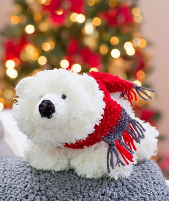 Free Knitting Pattern for Fluffy Polar Bear