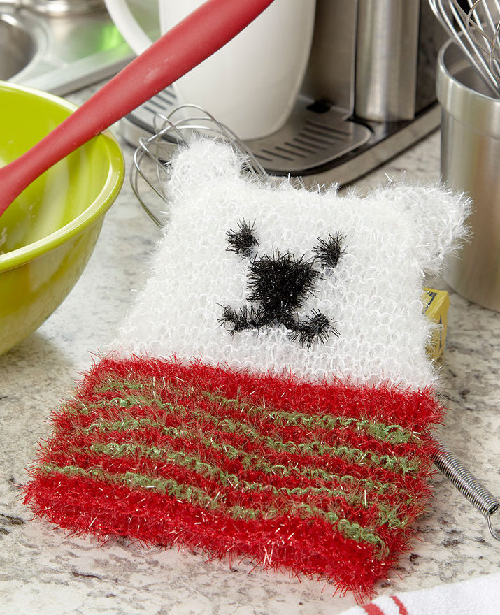Free Knitting Pattern for Polar Bear Scrubby Mitt