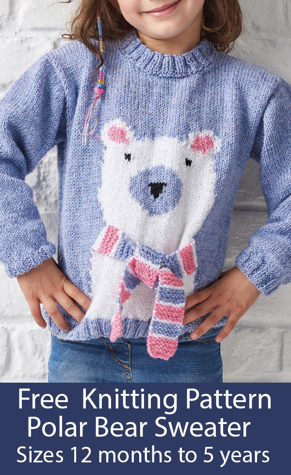 Free Knitting Pattern for Polar Bear Sweater