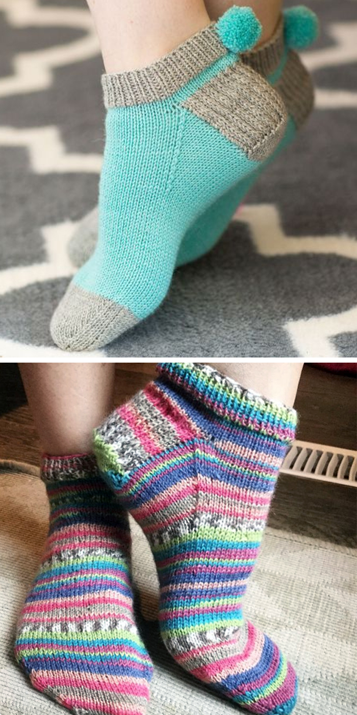 Free Knitting Pattern and Class for Easy Pom Pom Socks