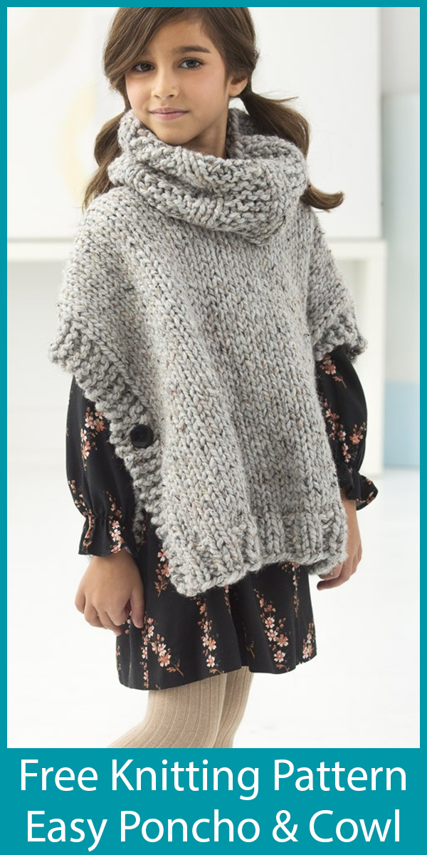 Free Knitting Pattern for Easy Quick Poncho and Cowl for Adult and Child Sizes