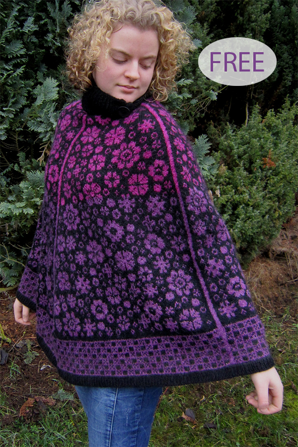 Free Knitting Pattern for  Latvian Blooms Poncho