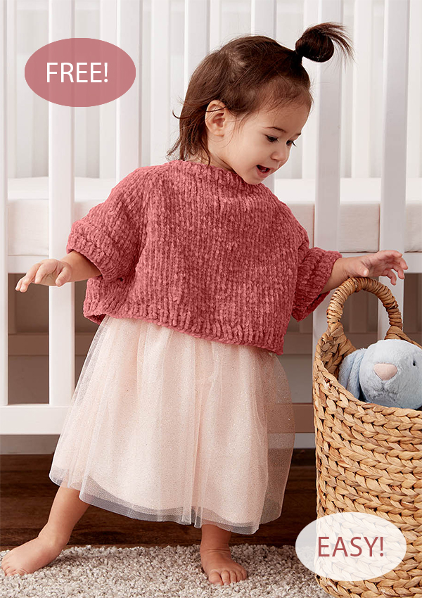 Free Knitting Pattern for Easy One Skein Baby Poncho Pullover
