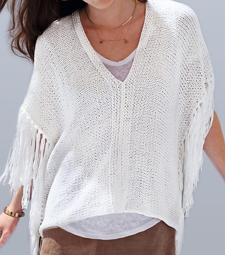 Free Knitting Pattern for Poncho Top With Fringe