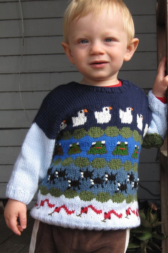 Free Knitting Pattern for Pondemonium Baby Sweater