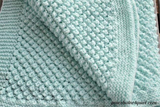 Free Knitting Pattern for 4 Row Repeat Popcorn Baby Blanket