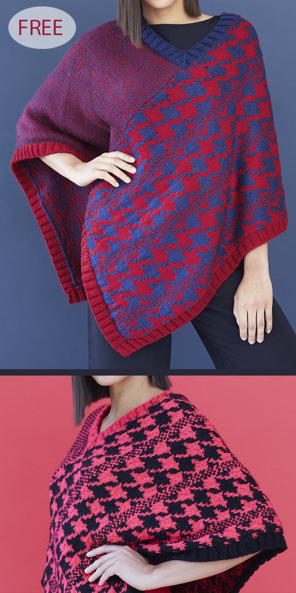 Free Knitting Pattern for Houndstooth Poncho