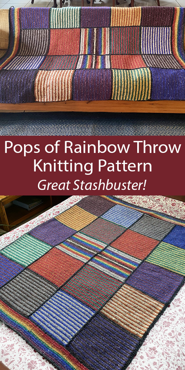 Stashbuster 	Knitting Pattern for Pops of Rainbow Throw