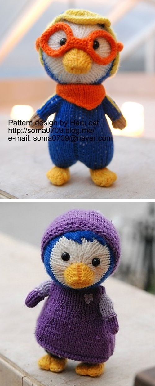 Free Knitting Pattern for Porroro and Petty Penguin