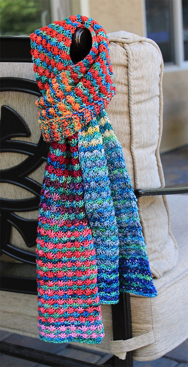Free Knitting Pattern for 4 Row Repeat Posie Rows Scarf
