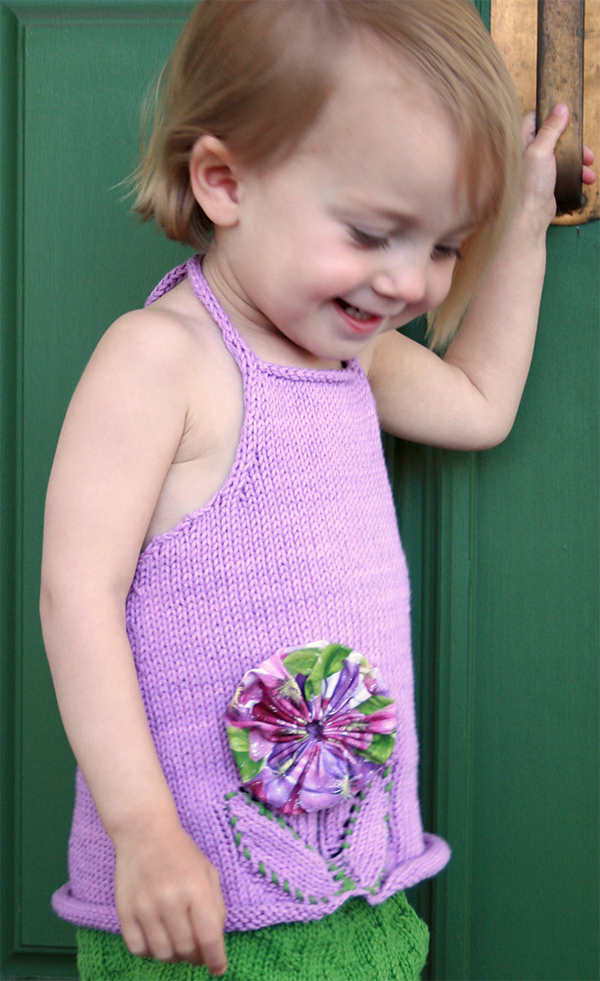 Free Knitting Pattern for Posy Baby Top