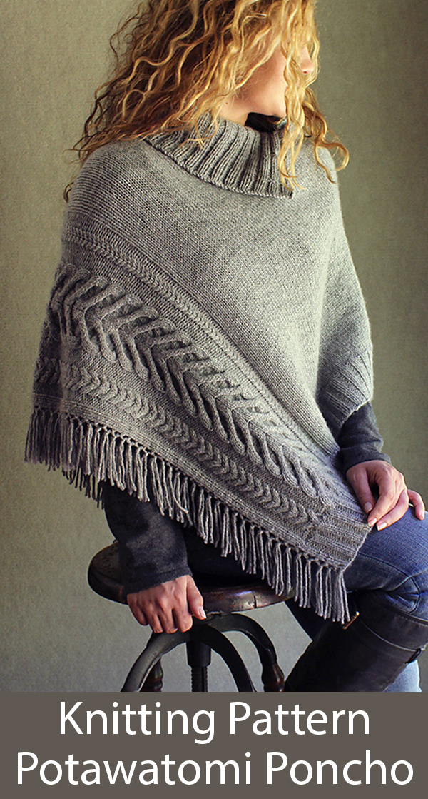 Knitting Pattern for Potawatomi Cabled Poncho in 1 Piece
