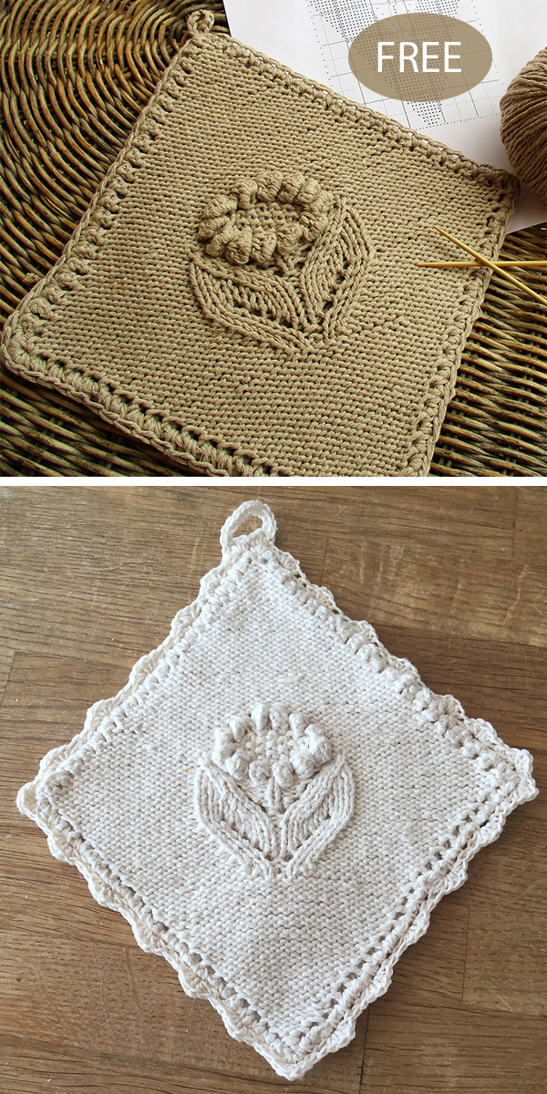 Free Knitting Pattern for Sunflower Potholder