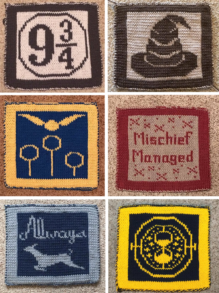 Knitting Patterns for 20 Harry Potter Inspired Afghan Squares