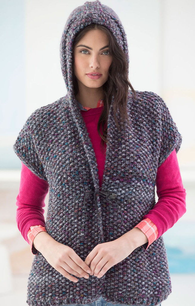 Free Knitting Pattern for Powder Ridge Hooded Vest