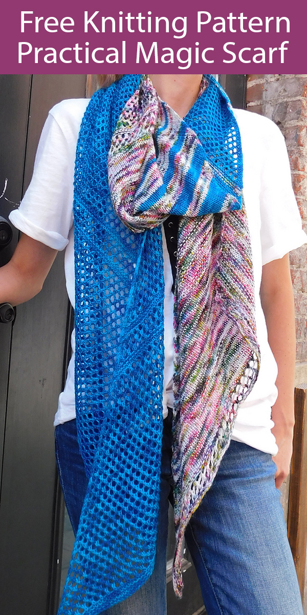 Free Knitting Pattern for Practical Magic Scarf for Multicolor Yarn