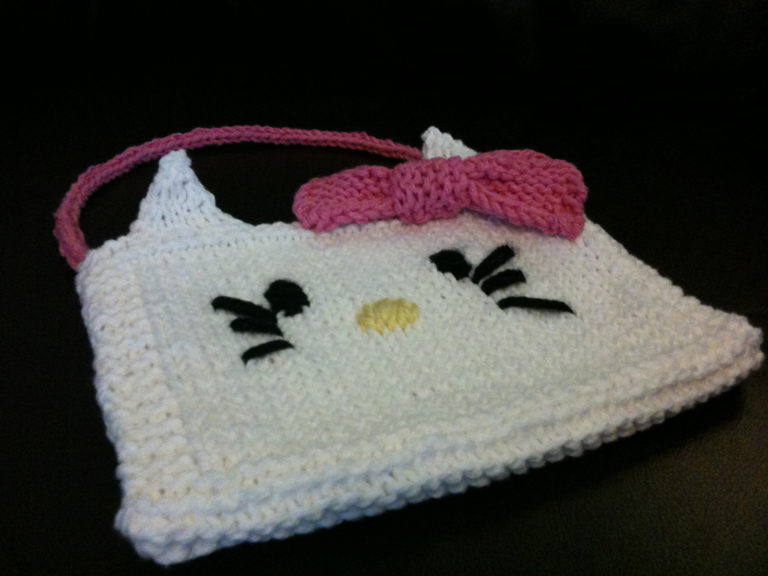 Free Knitting Pattern for Pretty Kitty Purse