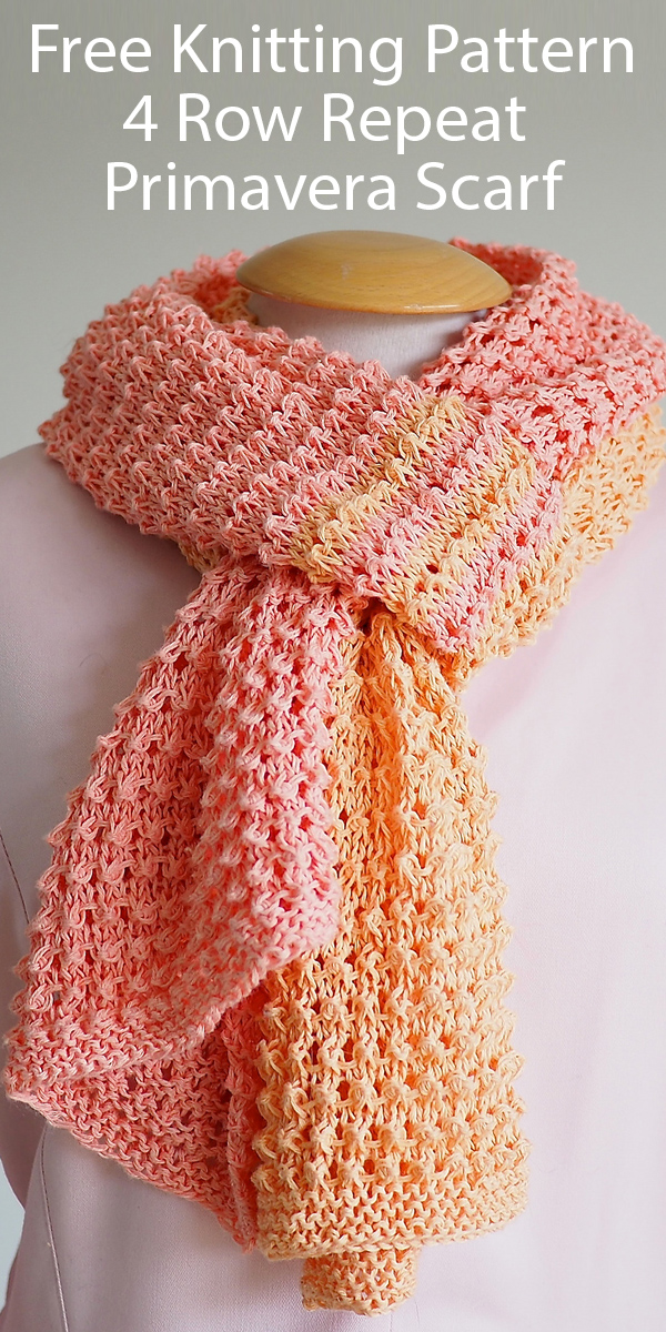 Free Knitting Pattern for 4 Row Repeat Primavera Scarf