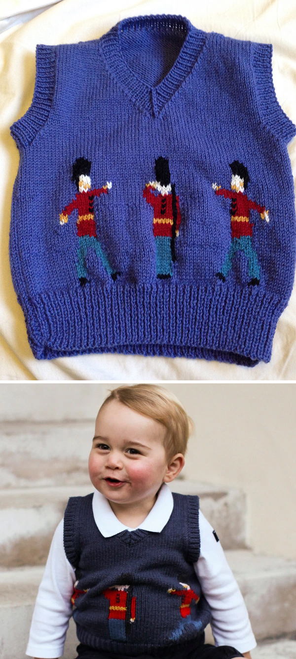 Free Knitting pattern Prince George Christmas Photo Pullover Guardsmen Sweater