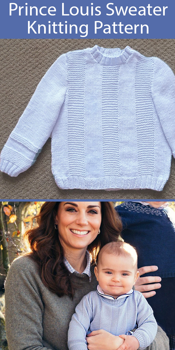 Knitting Pattern for PPrince Louis Pale Blue Sweater