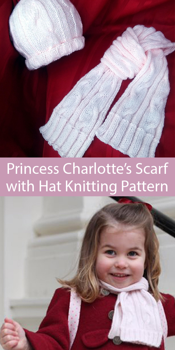 Knitting Pattern for Princess Charlotte Scarf and Hat