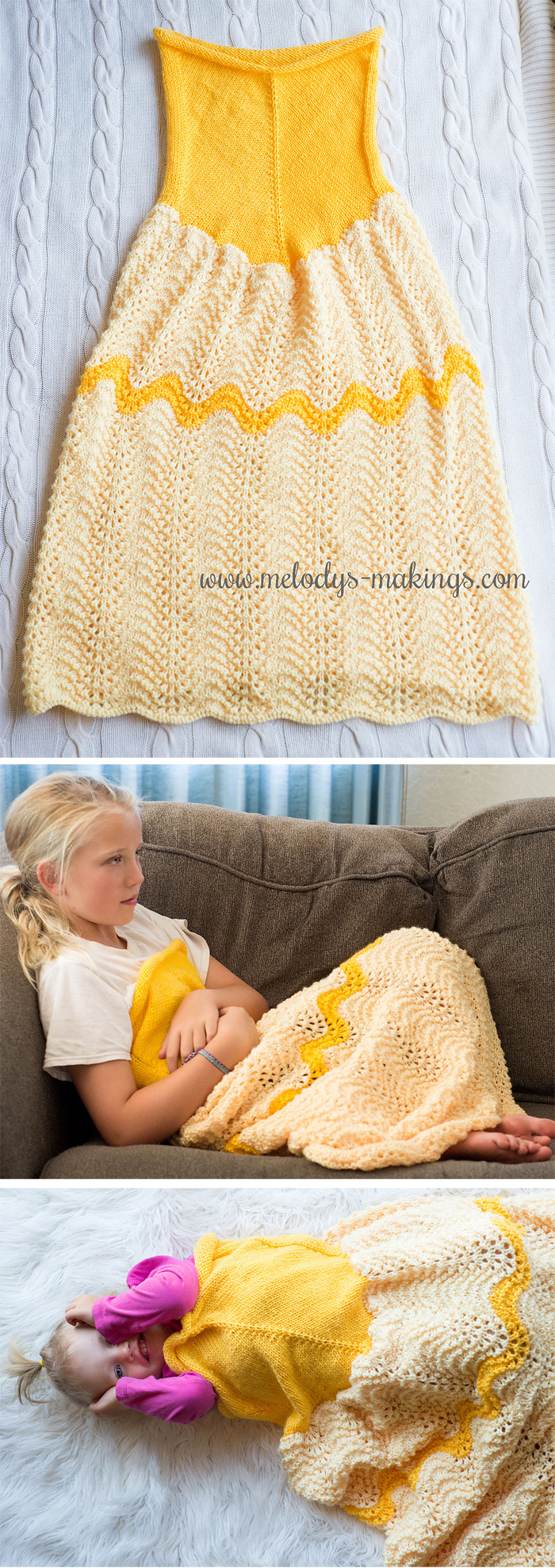 Free Knitting Pattern for Princess Dress Blanket