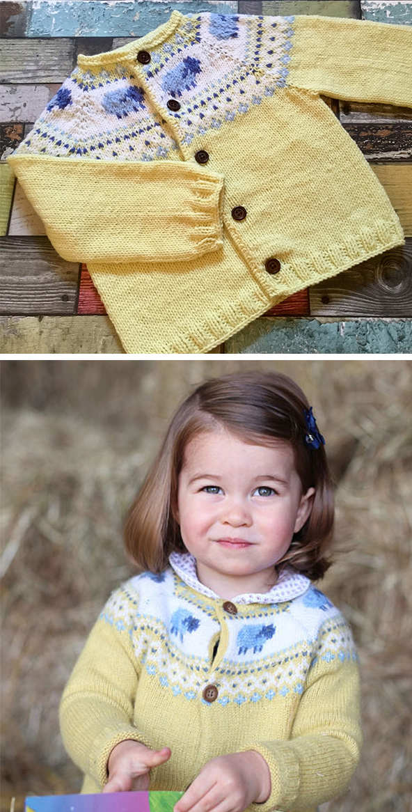 Knitting Pattern for Princess Charlotte Yellow Sheep Cardigan
