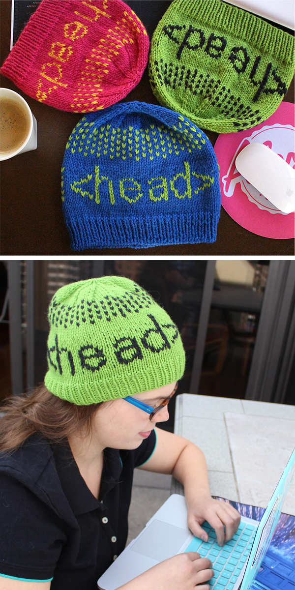 Free Knitting Pattern for Programmer's Headgear